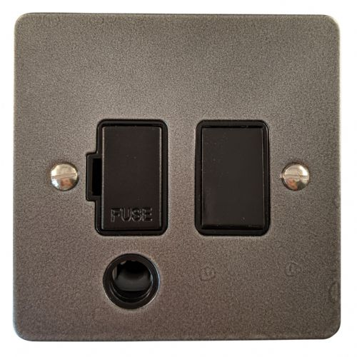 G&H FP56B Flat Plate Pewter 1 Gang Fused Spur 13A Switched & Flex Outlet